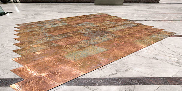 etched copper floor for the artist Grenville Davey manufactured from his design and specification by photo chemical milling the processes also know as photofabrication