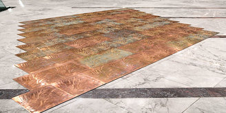An example of etched large copper panels, to create a an etched copper floor in an art gallery, made using the photo etching / chemical milling process, by Etch Tech UK