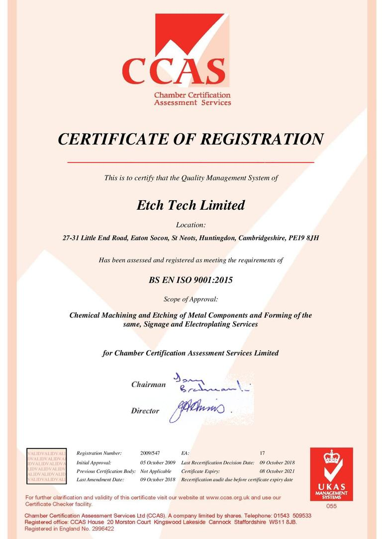 Etch-Tech ISO:9001 Quality Assured Etched Metal Components