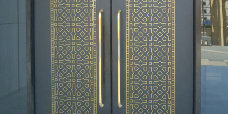 double door made for an airport in Saudi Arabia, manufactured by etching, by Etch Tech Ltd.