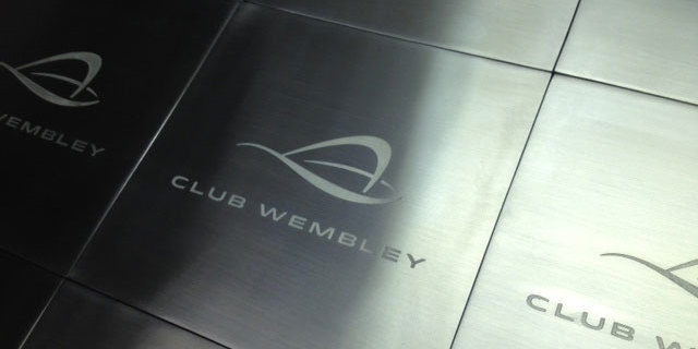 Etched Wembley door signs manufactured by Chemical Etching.