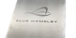 Club Wembley door sign, with the logo chemically etched into the surface.